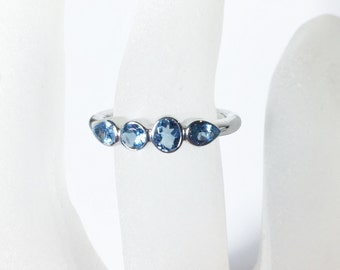 Aquamarine Sterling Silver Ring, 4 Stone Ring, Ready to Ship, Size 6, March Birthstone