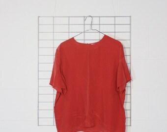 coral sheer silk boxy short sleeve shirt
