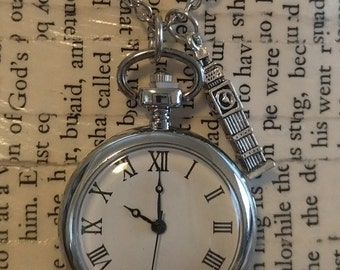 Silver London Big Ben Charm Pocket Watch Necklace