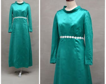 Vintage dress, 1960's evening dress, Green satin Empire line party dress with floral lace trim, Long sleeved ball gown, Sixties Bridesmaid