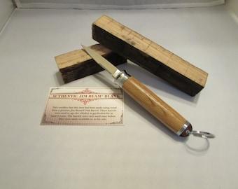 Handmade  JIM BEAM Compact Key Ring Knife  (white oak on chrome)with gift box
