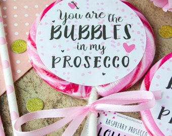Boozy Raspberry Prosecco Lollipop - Valentines Gift - Gift for Her - Food Gift - Gift for Him - Funny - Anniversary - Wedding Favour