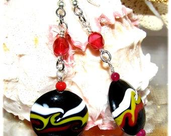 Handmade Lampwork Lentil Bead Earrings