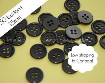 50 Black buttons 15mm bulk wholesale black buttons 4 holes black plastic buttons