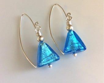 Aqua Venetian Glass Earrings / Triangle Earrings / Blue Glass Earrings / Geometric Earrings / Murano Glass / Sterling Silver Earrings