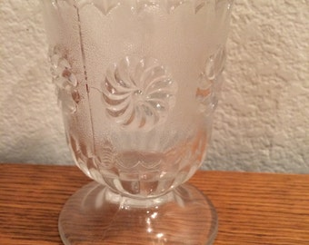Vintage Glass Floral Footed Sundae Cup
