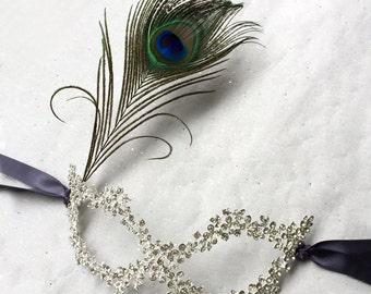 Masquerade Ball Masks, Rhinestone Feather Mardi Gras Mask, Venetian Mask, Wedding Masquerade Mask Women, Party Mask, Costume Mask