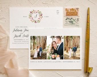 Blush Greenery Save the Dates for Rustic Barn Wedding