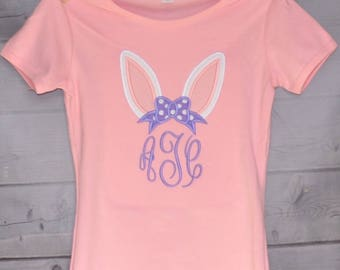 Personalized Easter Bunny Ears with Monogram Applique Shirt or Onesie Girl or Boy