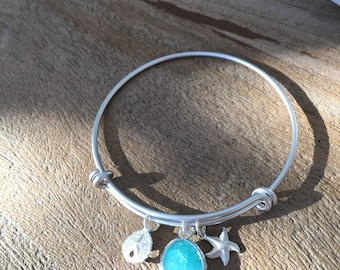 sand dollar bangle mint bangle silver starfish mint blue jewelry ocean blue bridesmaid bangles beach wedding starfish jewelry mint jewelry
