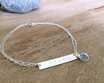 Customized date bracelet Personalized hand stamped name bracelet wedding date swarovski birthstone letters initials dates name bar jewelry
