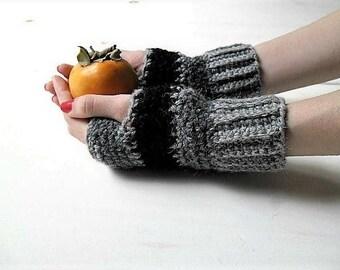 Striped fingerless mittens, crochet fingerless gloves, fingerless mitts, arm warmers wool