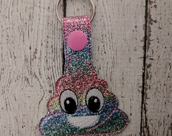 Poop - In The Hoop - Snap/Rivet Key Fob - DIGITAL EMBROIDERY Design