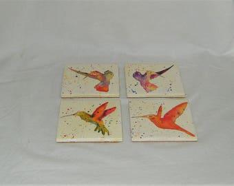 Original Hand Painted Coaster Set - Humming Birds Watercolor Paintings - 4 Abstract Coaster Paintings - High Gloss, Cork Backing, 4 x 4 Tile