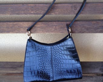 Black Croc Leather Purse, Faux Croc Leather Handbag, Liz Claiborne Bag, Liz Claiborne Purse, 60s Black Purse, Crock Handbag, Black Croc Bag
