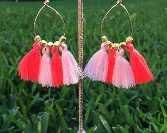 Neon Tassel Earrings, 14kt gold