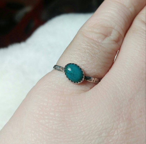 Simple Blue Ring | Aqua Blue Stone Ring | Sterling Silver Ring Sz 8 | Blue Green Stone Ring | Chrysocolla Ring | Mermaid Ring