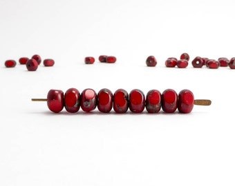 Red Picasso Three Cut Czech Glass Beads, (30 pcs) 4x7mm 3 Cut Beads, Picasso Beads, Red Three Cut Beads, Three Way Cut Beads TWC0005