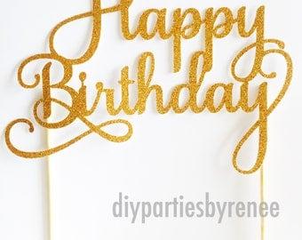20% Off Happy Birthday Cake Topper - Birthday Cake Topper - Birthday Cake Topper - Assorted Glitter Colours - Milestone Birthday