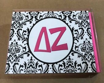 Delta Zeta Damask Notecards