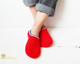 Gift for husband.Mens Slippers,Mens House Slippers,Teen Boy Slippers,Gift for Dad,Gift for Him,Fathers Day.Red White Blue.Red slippers