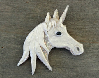 Opal and white polymer clay Unicorn brooch/pin