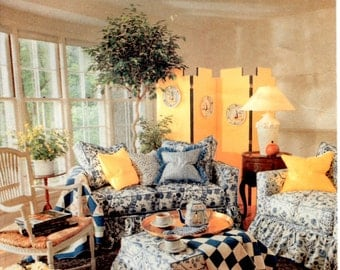 Vintage Butterick 4592 Uncut Better Homes and Gardens Slip Covers for Sofa Chair Ottoman Printed in 1990