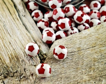 Red Football Beads 12mm, Soccer Ball, Acrylic Beads, Round Spacer Beads, Sports Beads, Soccer Beads, 25 pieces