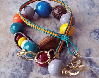 Handmade Lampwork Necklace with Tropical Nut, Snakeskin Bead, Old Palm Wood, Leather Cord and TOHO Beads. Summer Jewelry. Long Necklace.