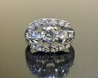 Platinum Art Deco Diamond Engagement Ring - Art Deco Platinum Diamond Wedding Ring - Diamond Platinum Ring - Handmade Platinum Diamond Ring