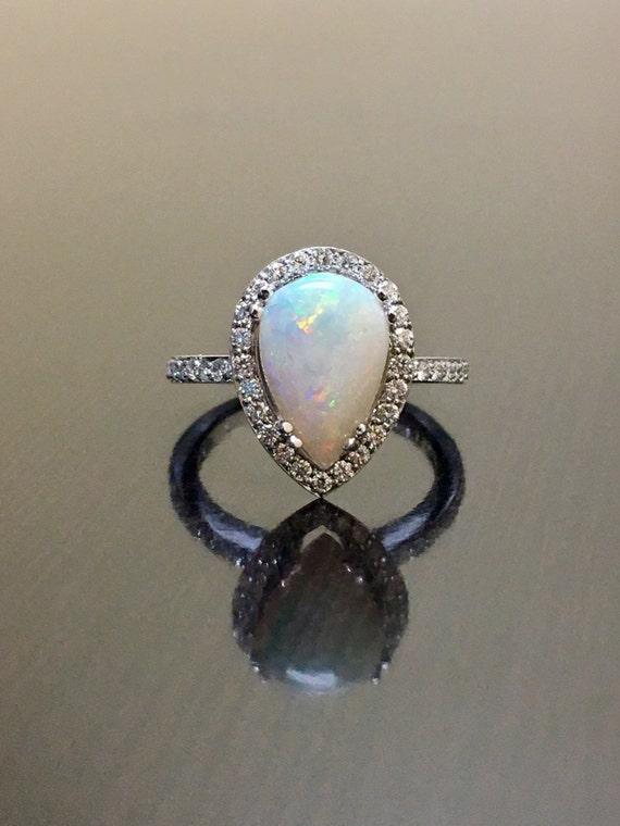 14K White Gold Opal Diamond Engagement Ring Art Deco Diamond