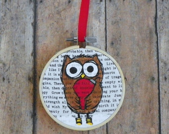 Hand Painted 3 Inch Owl and Ornament Christmas Tree Ornament