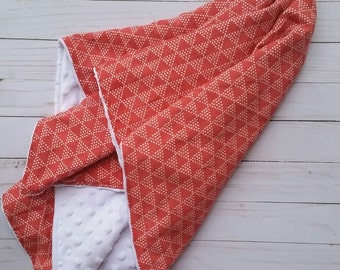 Organic Baby Blanket, gender neutral blanket, organic cotton baby blanket,  red, coral,