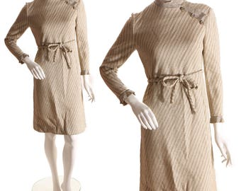 1960s Gold and Silver Lurex Striped Long Sleeved Gold Button Dress by Stix Baer & Fuller
