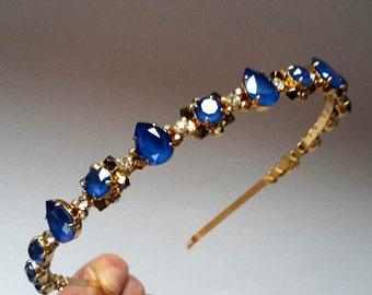 Royal blue Swarovski headband Wedding crown Blue tiara Blue wedding headband Something blue headpiece Bridesmaid headpiece Blue headband