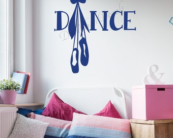 Dance Wall Decal - Dance Decal - Dance Shoes Decal - Ballerina Wall Decal - Dancing Decor - Dancer Decal - Dance Theme Decal