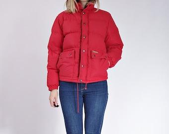 30% OFF SALE - 70s Ajak Sport Red Retro Oldschool Hooded Duck Down Jacket / Size S/M