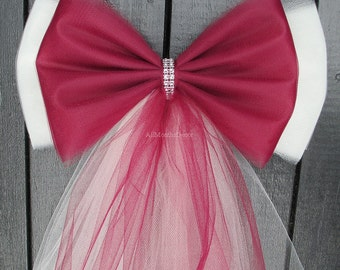 Tulle Pew Bow, Many Colors, Bling Optional, Wedding Decorations, Church Aisle Party Bridal Baby Shower, Chair Bow, Custom Made