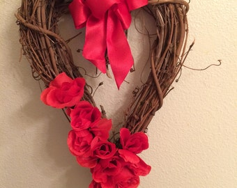 NEW - 18X10 Valentine Heart Grapevine Wreath with roses, Valentine Wreath, Wedding Wreath, Wreath, Grapevine Heart, Red Rose Heart, SKU 233