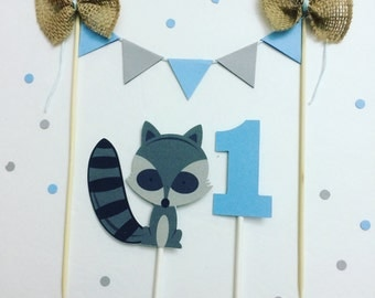 Woodland cake topper, raccoon cake topper, woodland smashcake topper, woodland party
