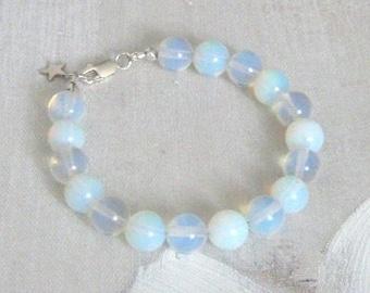 Gemstone bracelet, Real silver bracelet, Moonstone beaded bracelet, Moonstone jewellery, Handmade jewellery, Birthday gift, Gift for her