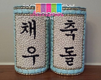 """SET OF 2 Towers two toned CUSTOM Name & Chook/chuk Dol Birthday/Dol Tower (Go-Im) Chuk Dol-Korean 1st Birthday """"Happy 1st Birthday"""""""