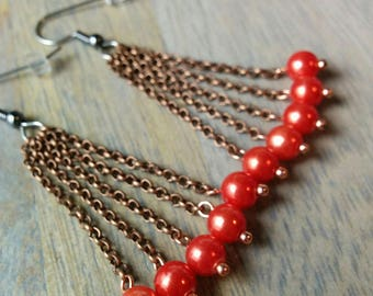 Crataegus Earrings - The Hawthorns - Red, copper, berry, hypoallergenic, strand, cluster, drop, glowing, medium, dangle, drops, cranberry