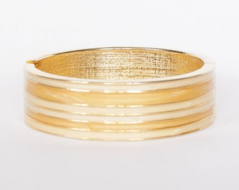 Yellow-Gold And Cream Enamel Bangle Bracelet With Spring Opening - Great Summer Piece