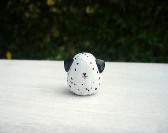 Dalmatian Animal Bean totem ∙ Cute dog ornament ∙ Handmade animal figurine ∙ Ready to ship
