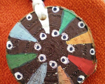 Hand Painted ABSTRACT BURST Necklace ~ Wood Slice Necklace