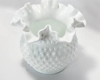 Fenton White Milk Glass Hobnail Vase Wedding Bride Shower