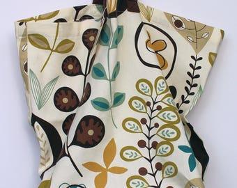 Canvas Bag: Warm Flora, washable