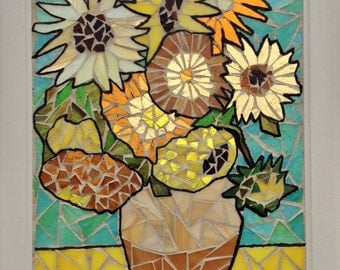 Van Gogh Sunflower Stained Glass Panel -  Van Gogh Stained Glass Sunflower Mosaic Panel - Stained Glass Van Gogh Sunflowers Mosaic