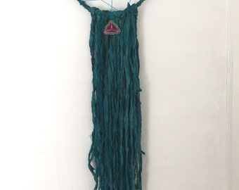 Boho Chic Decor Dreamcatcher Wall Hanging Sari Silk Ribbon Bohemian Indie Teal Purple  Wall Hanging
